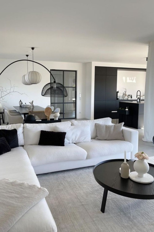 White sofa and black coffee table design