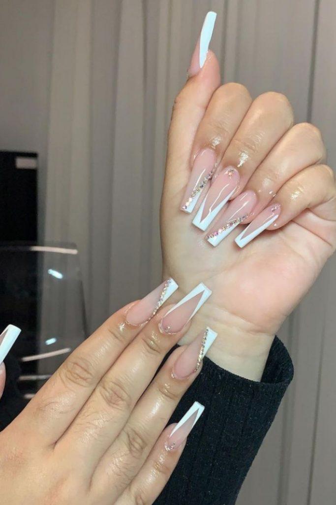 Elegant White Nail Design for Summer Nails in 2021