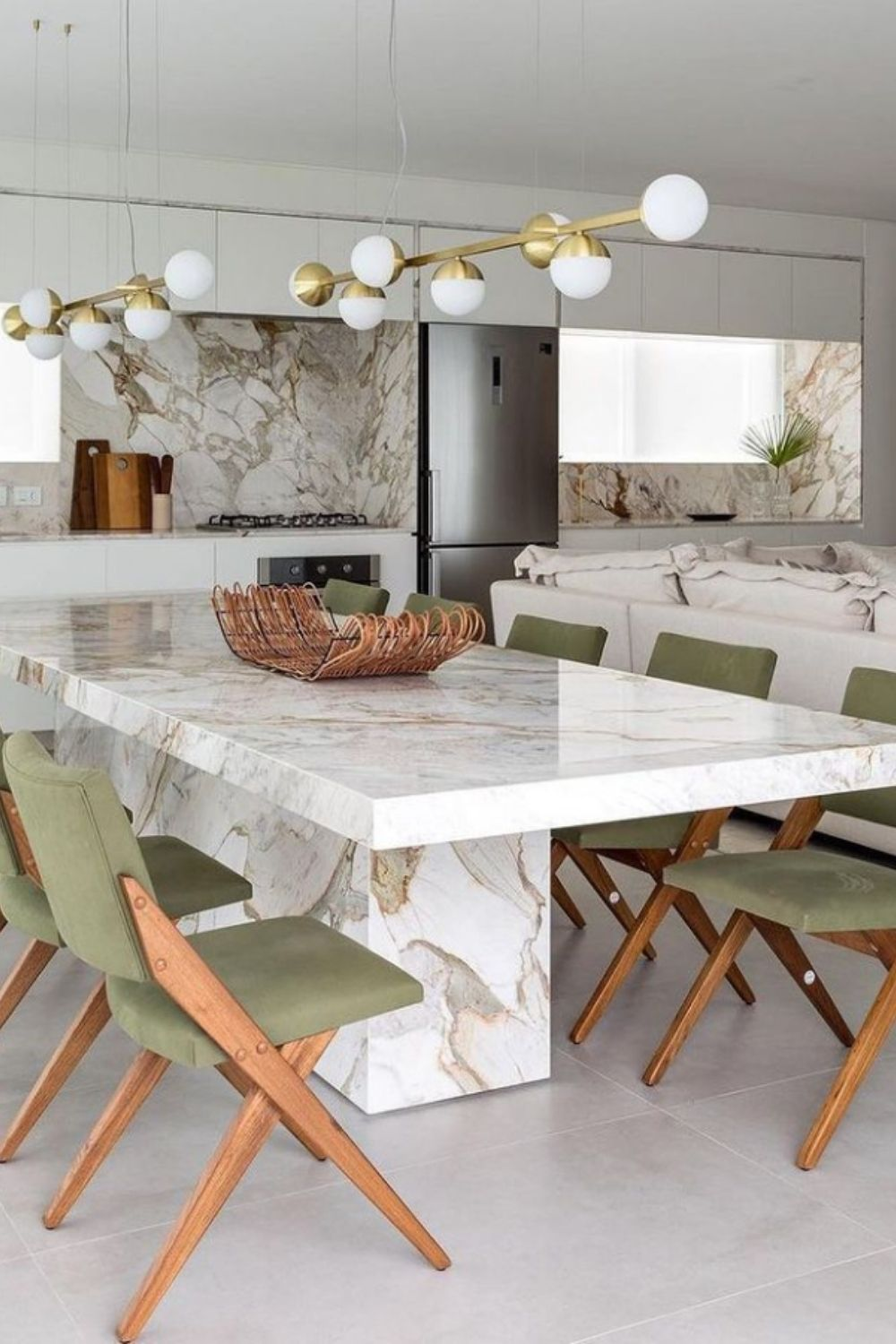 Marble dining table and solid wood chairs