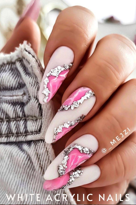 glitter almond nails