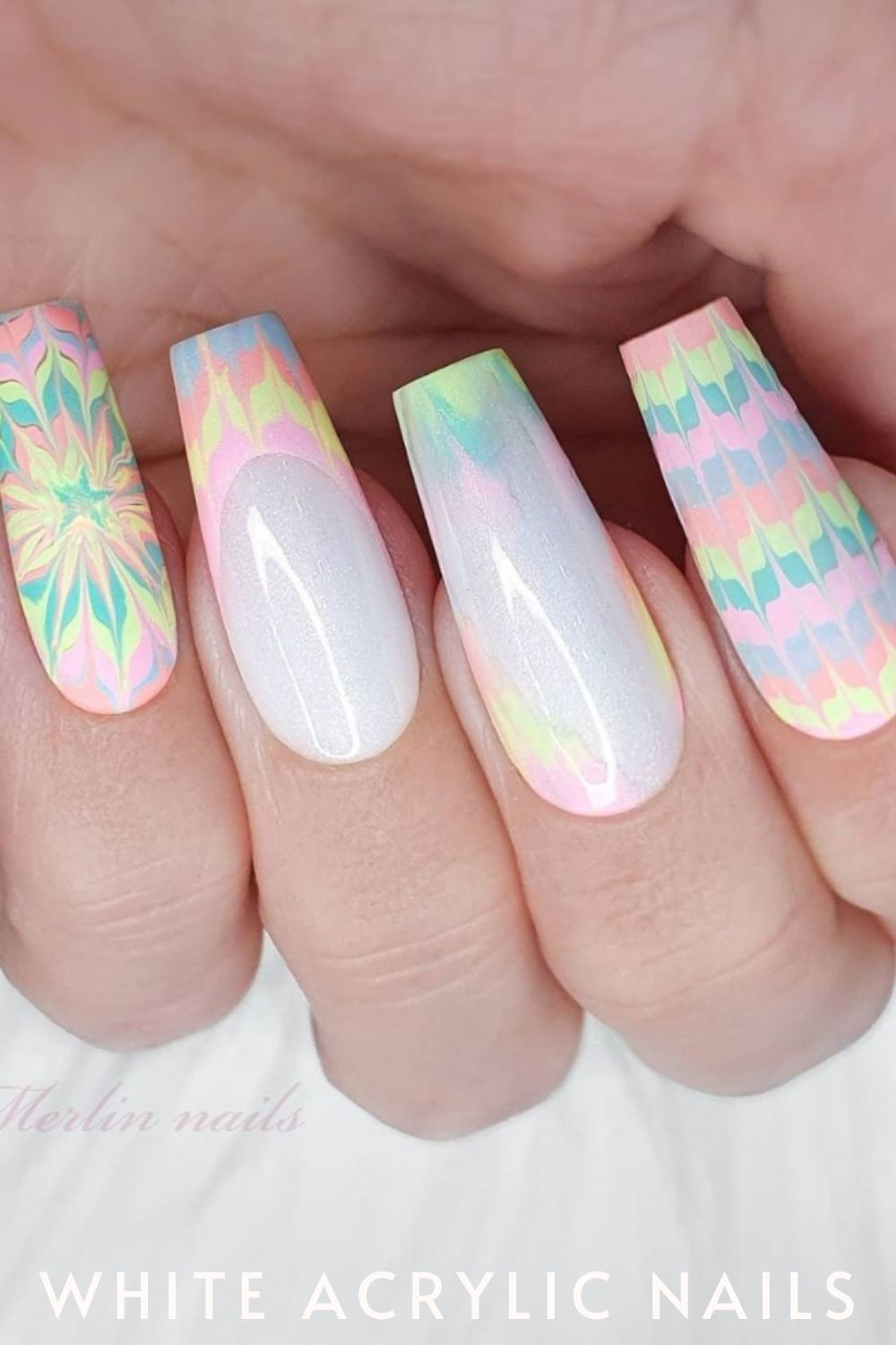 White Nail Designs With Geometric Patterns