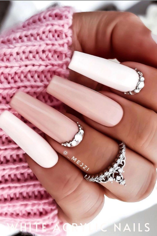 white coffin nails designs