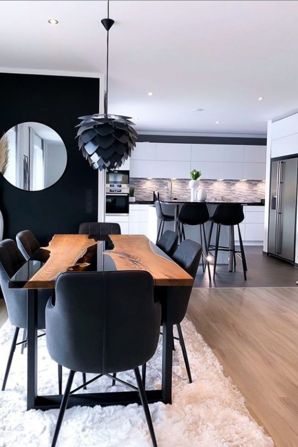 Open-style living room and dining room design