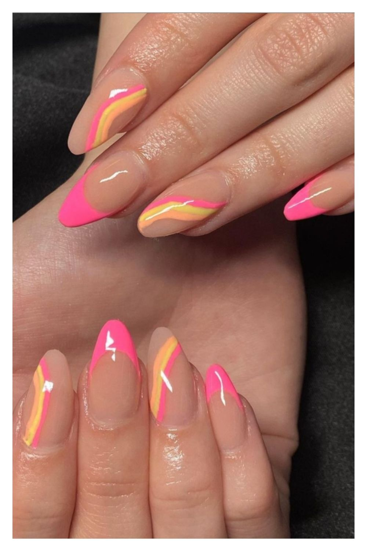 Pink cute summer nail design