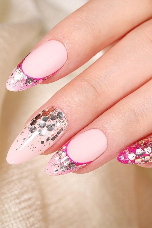 Shiny almond nails