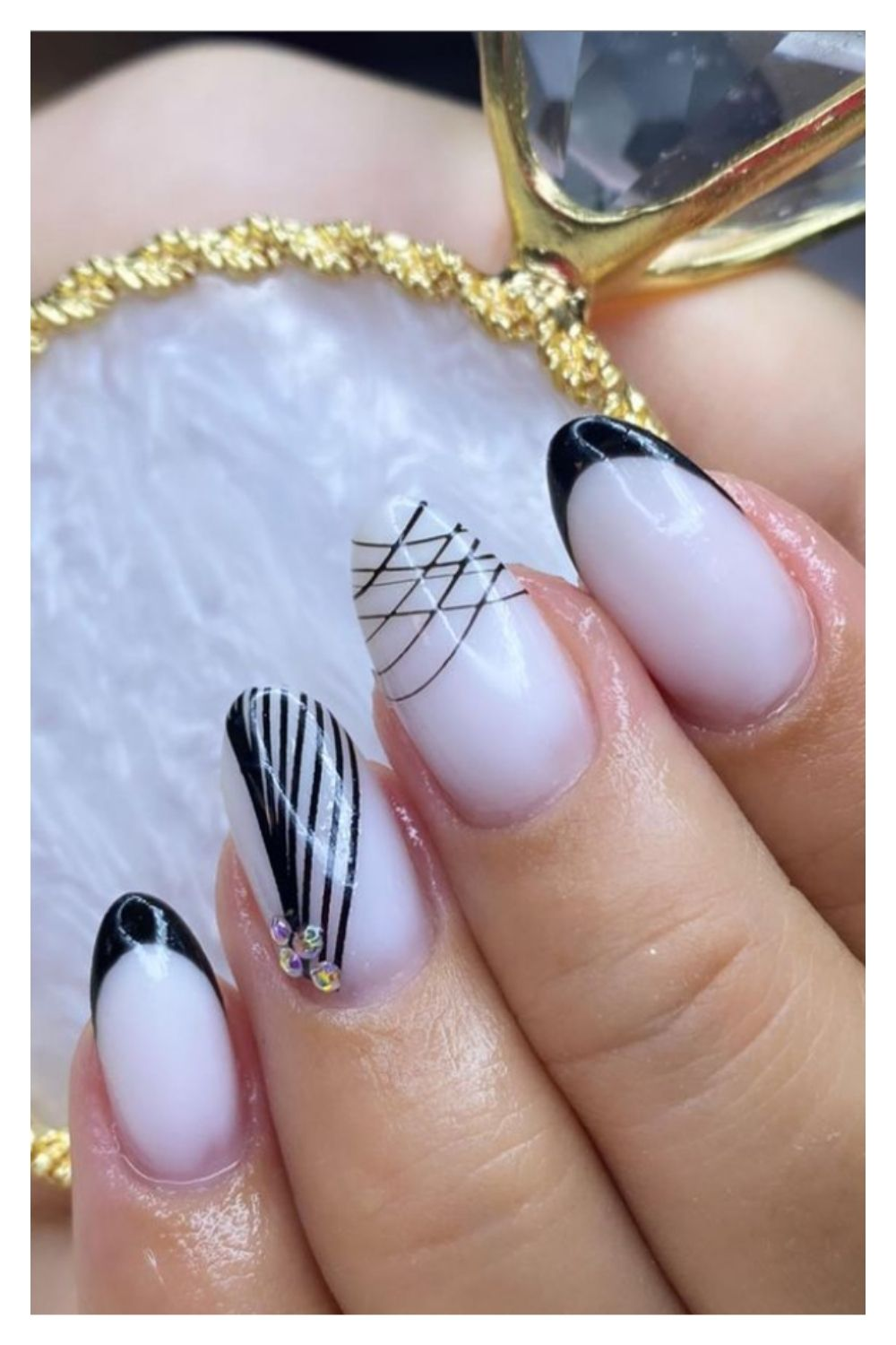 Black and white almond nails