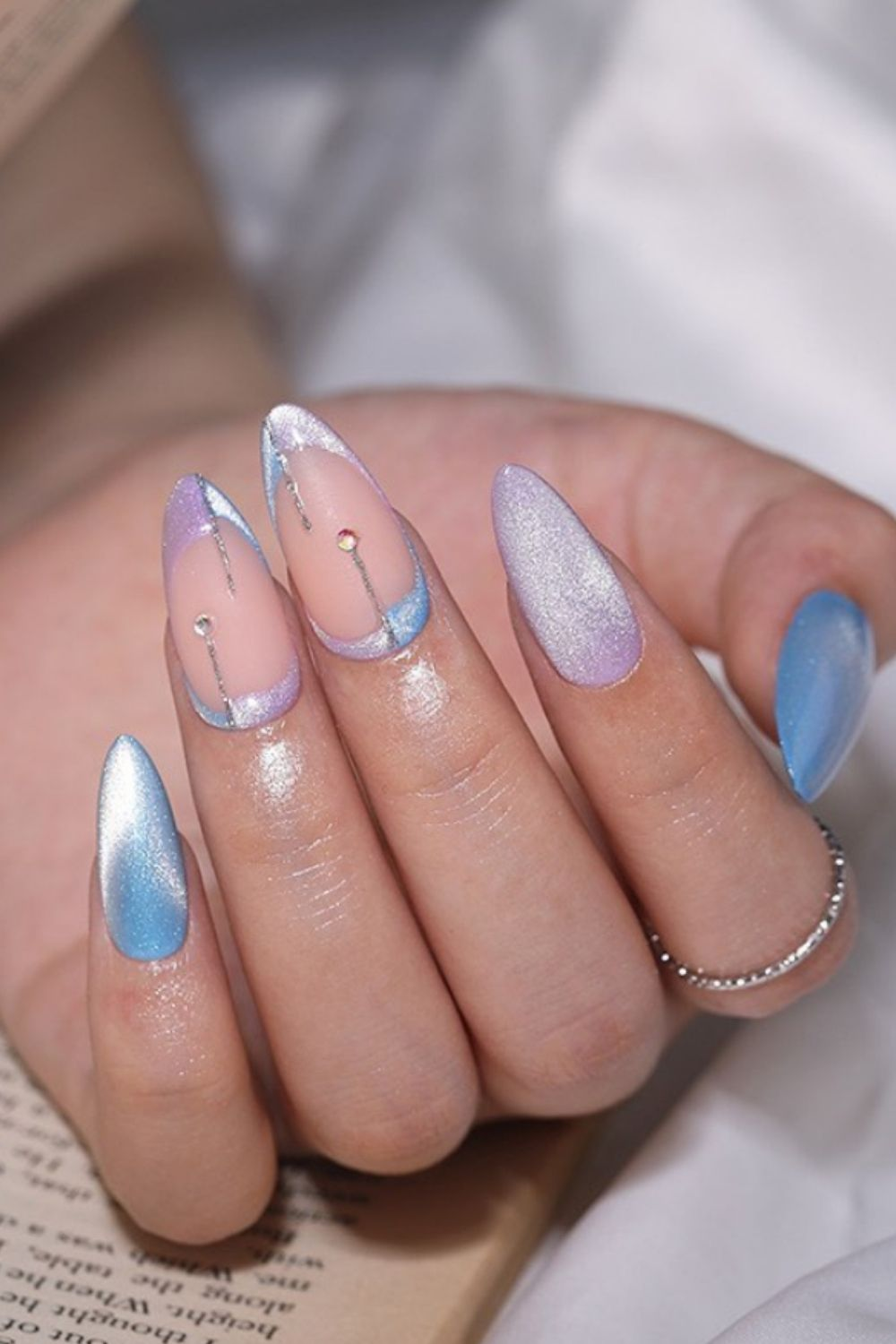 Outer space almond nails