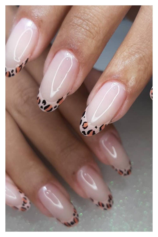 Leopard tip almond nails