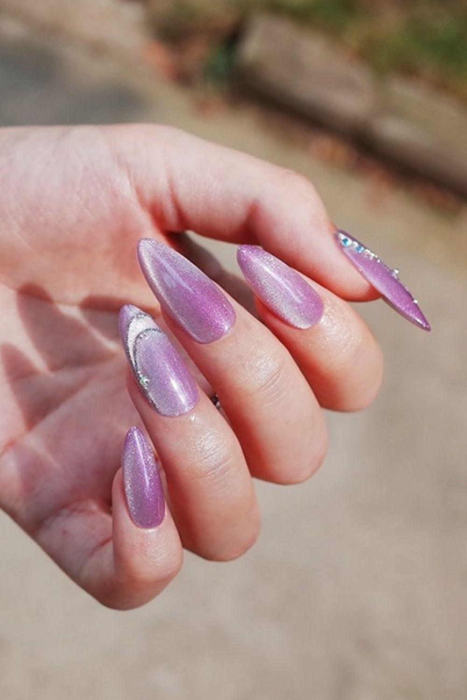 Purple glitter almond nails designs