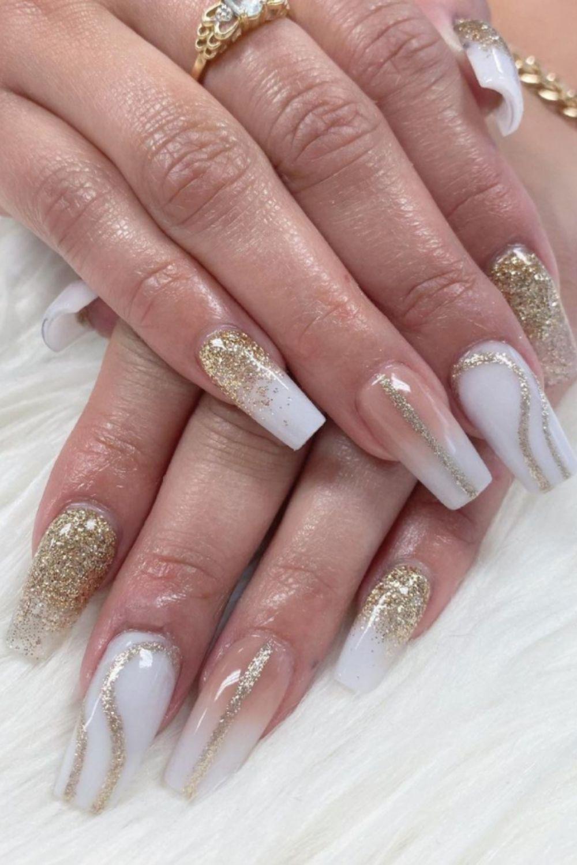 Glitter and white ballerina nails shaped