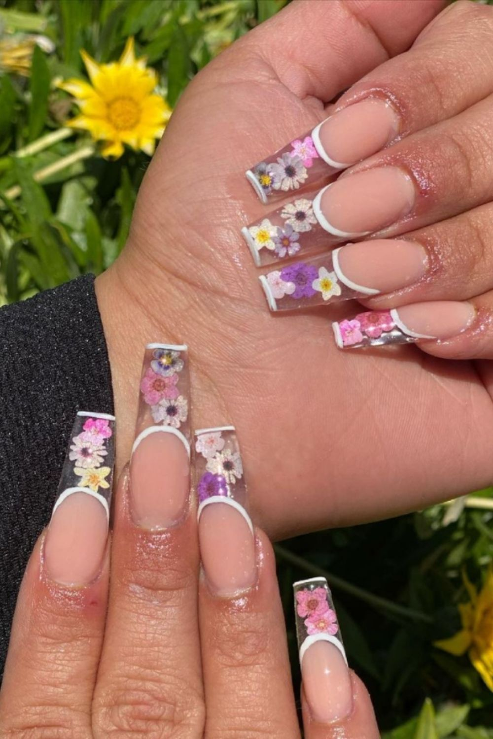 Nude tip coffin nails shaped