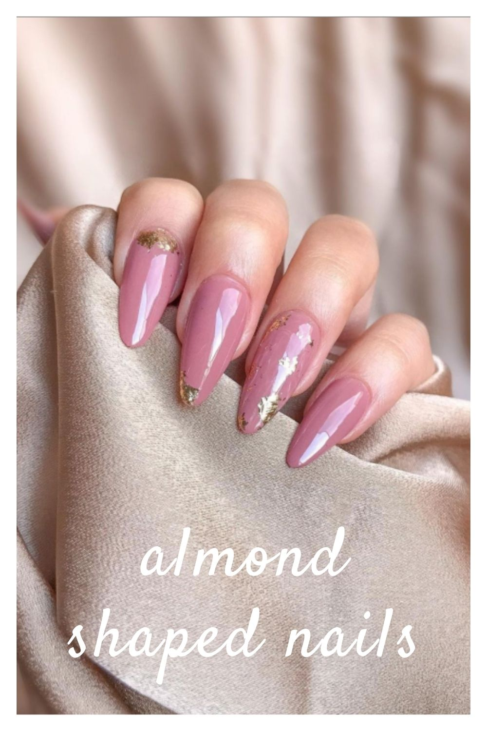 Gold and pink almond nails