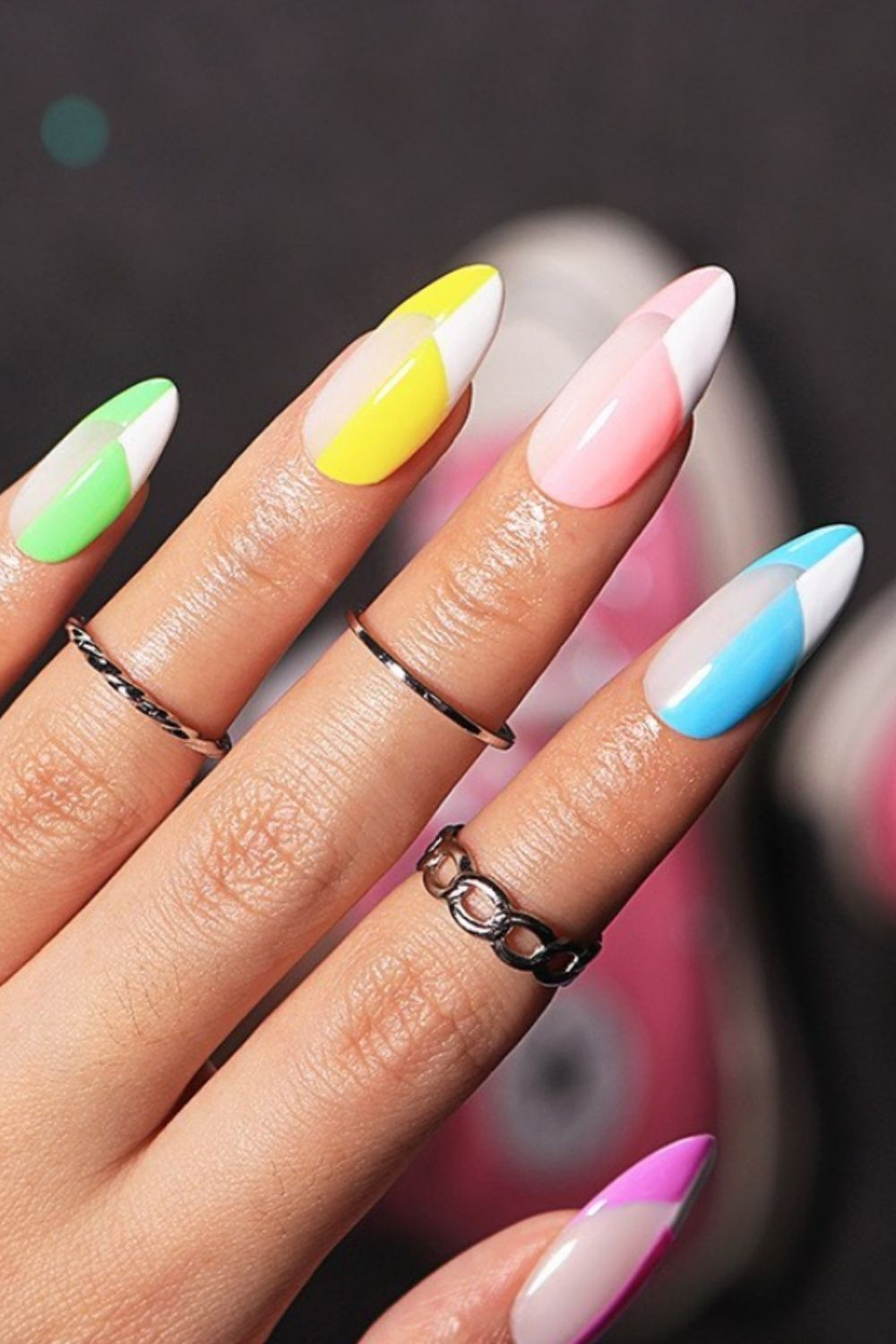 Pastel nails for almond nails art