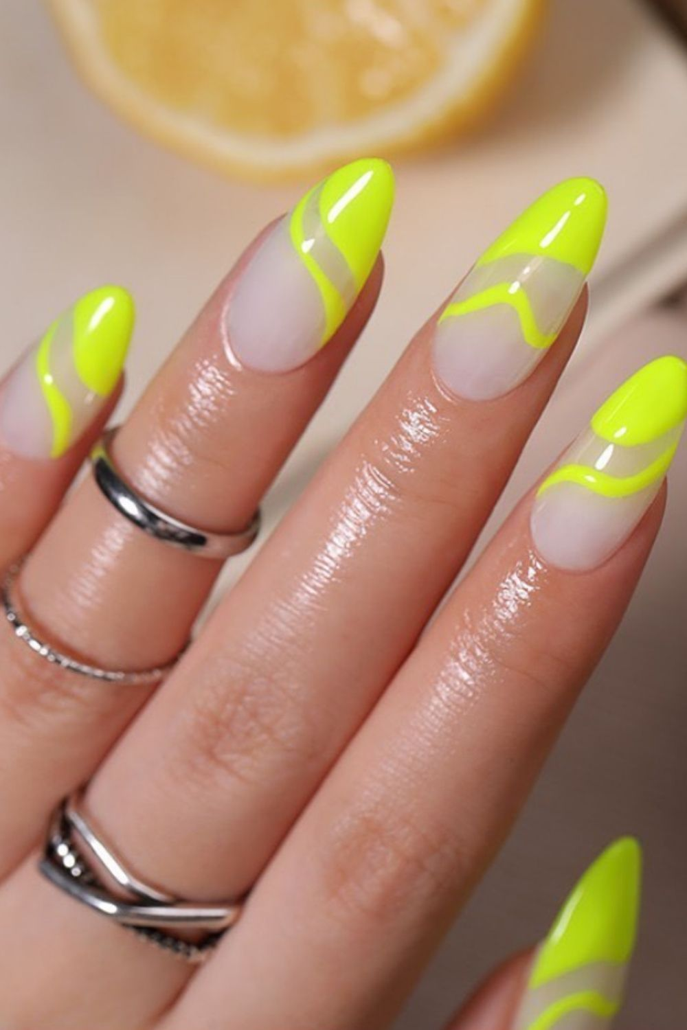 Nude and yellow almond nails ideas