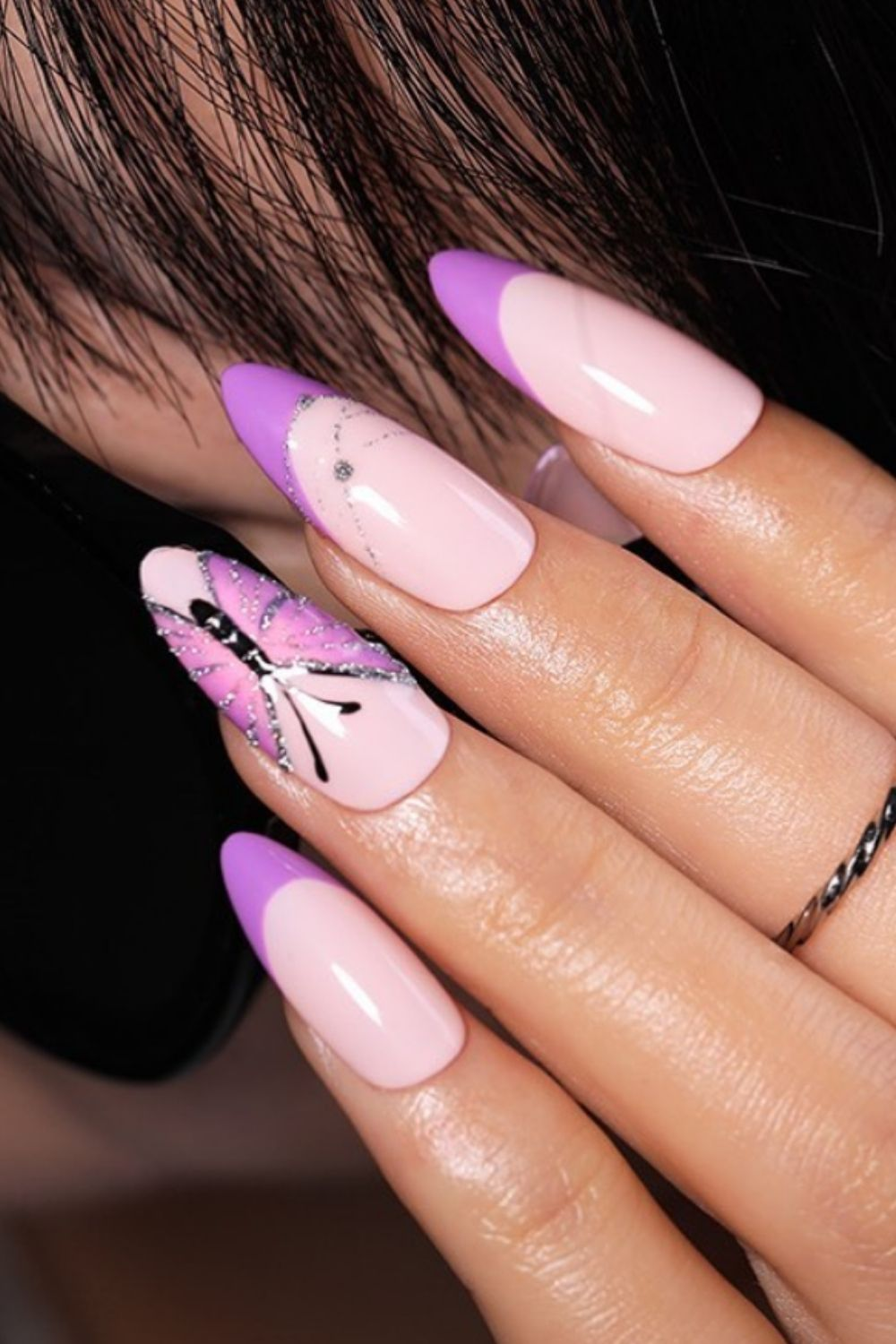 French nails for almond nails with butterfly