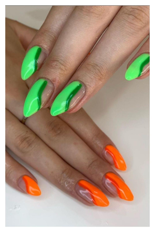 Neon and orange almond nail