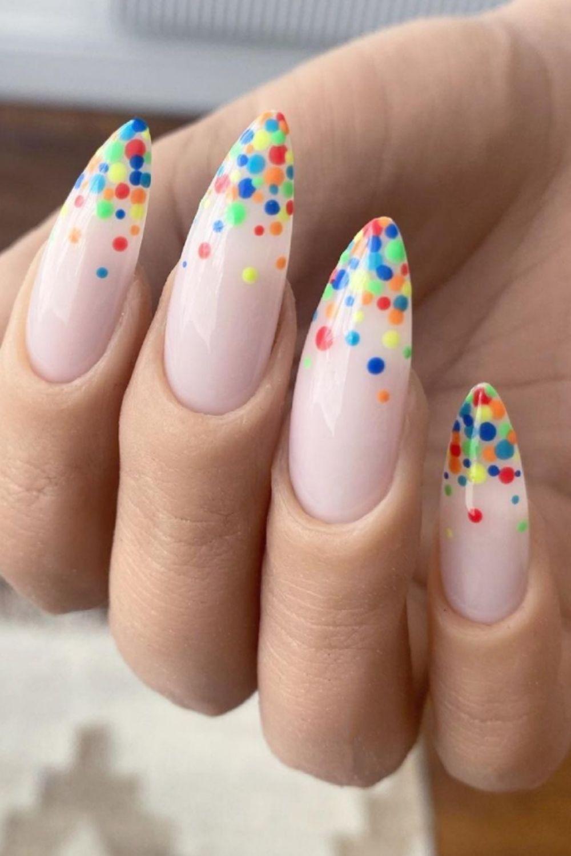 Skittles almond nails