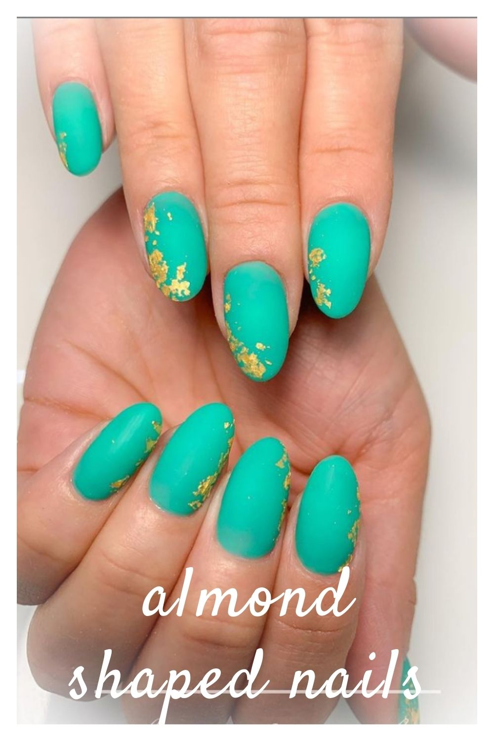 Green and gold short almond nails