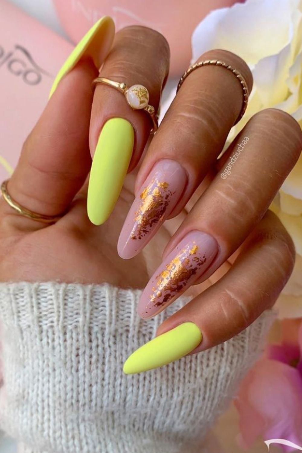 Yellow and gold almond shaped nails