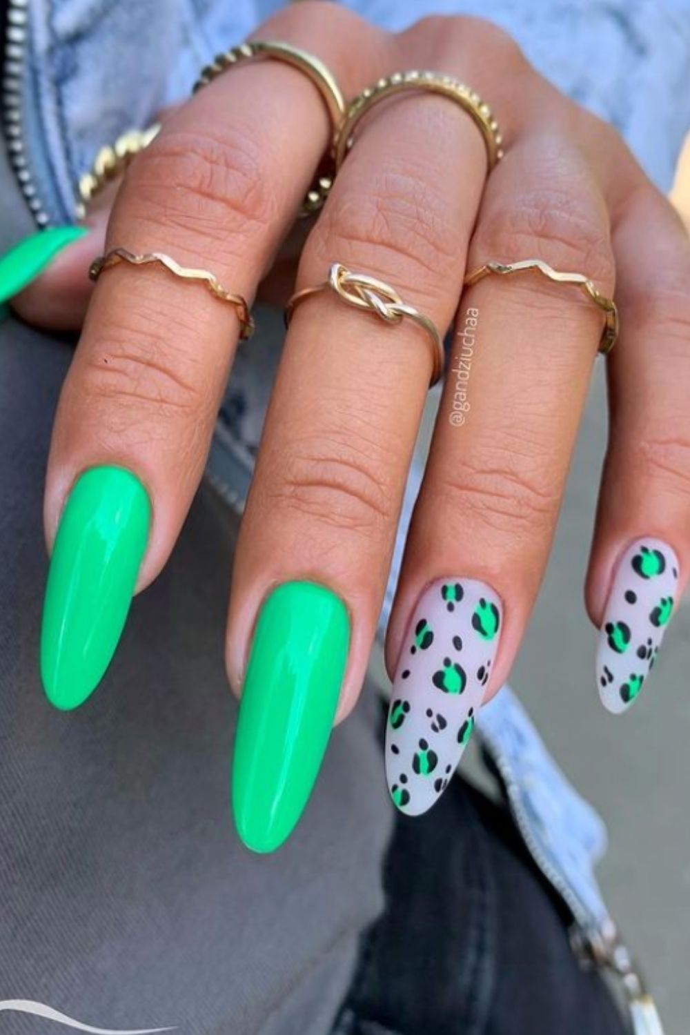 Green and pink almond shaped nails