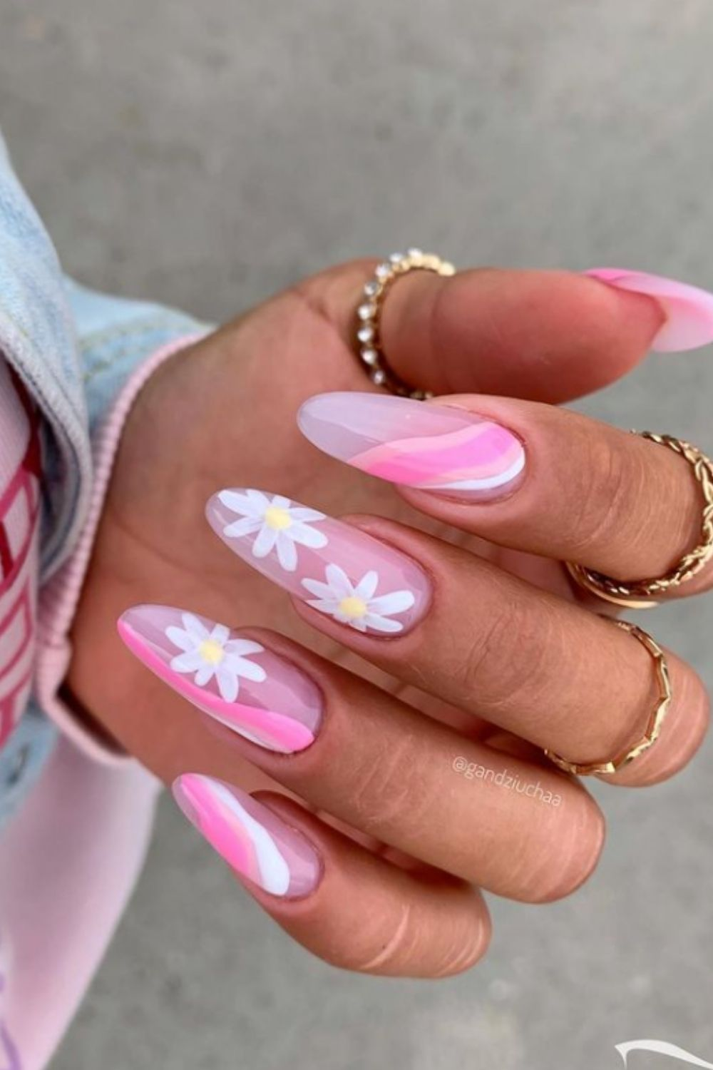 Pink and nude almond nails with flowers