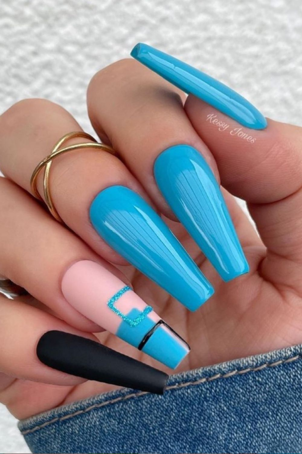 Blue and black coffin nails art