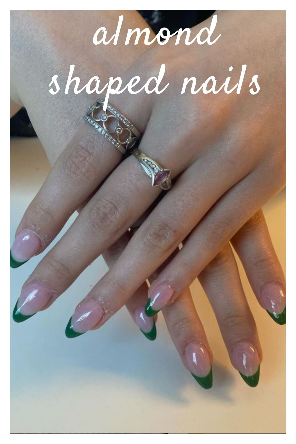 Green tip almond nails