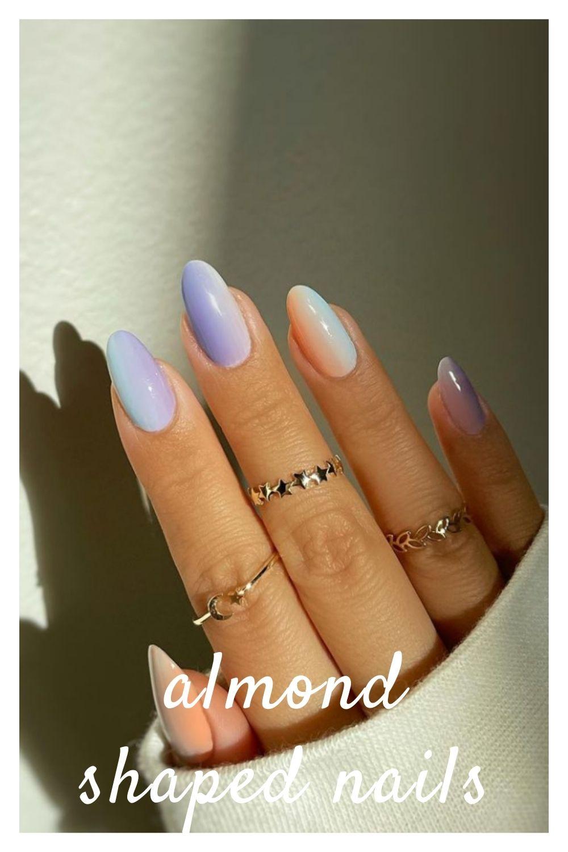Light blue almond nail
