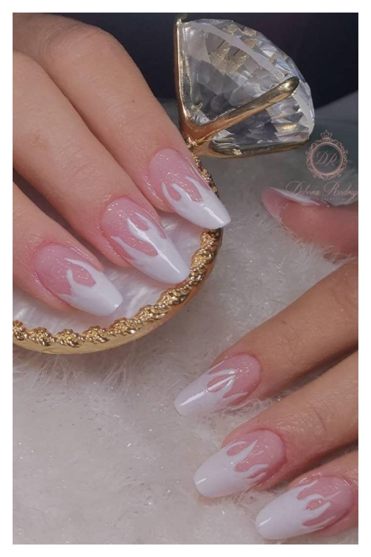 White tip almond nails designs