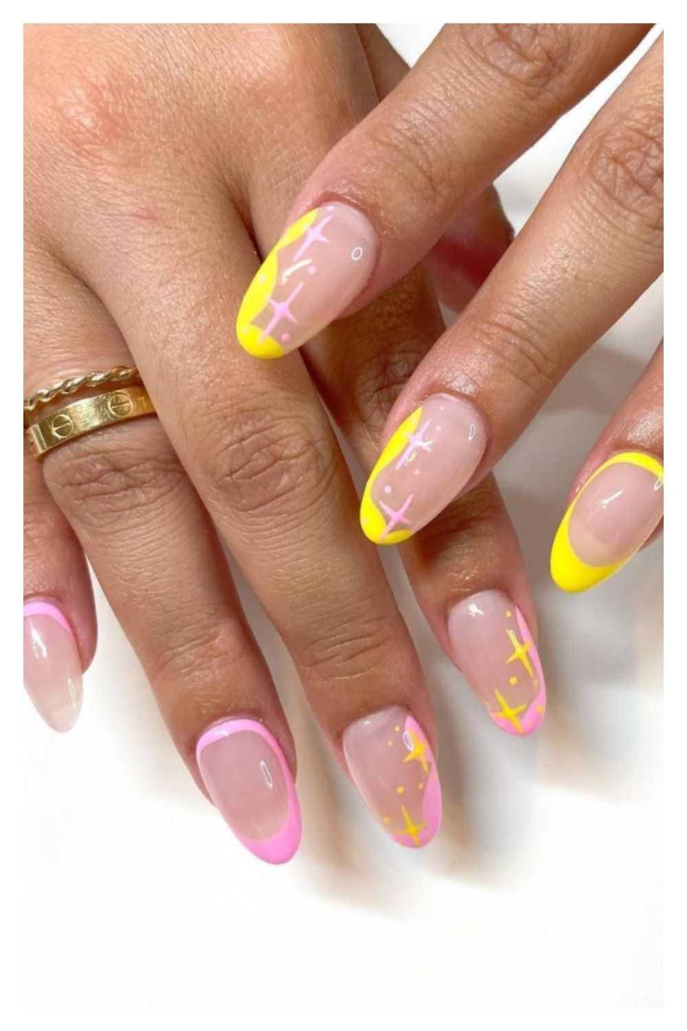 Pink and yellow almond nails art