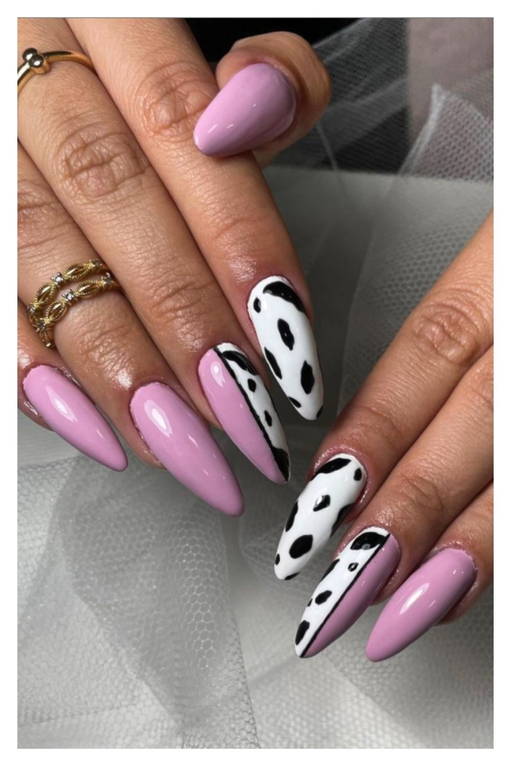 White and purple almond nails