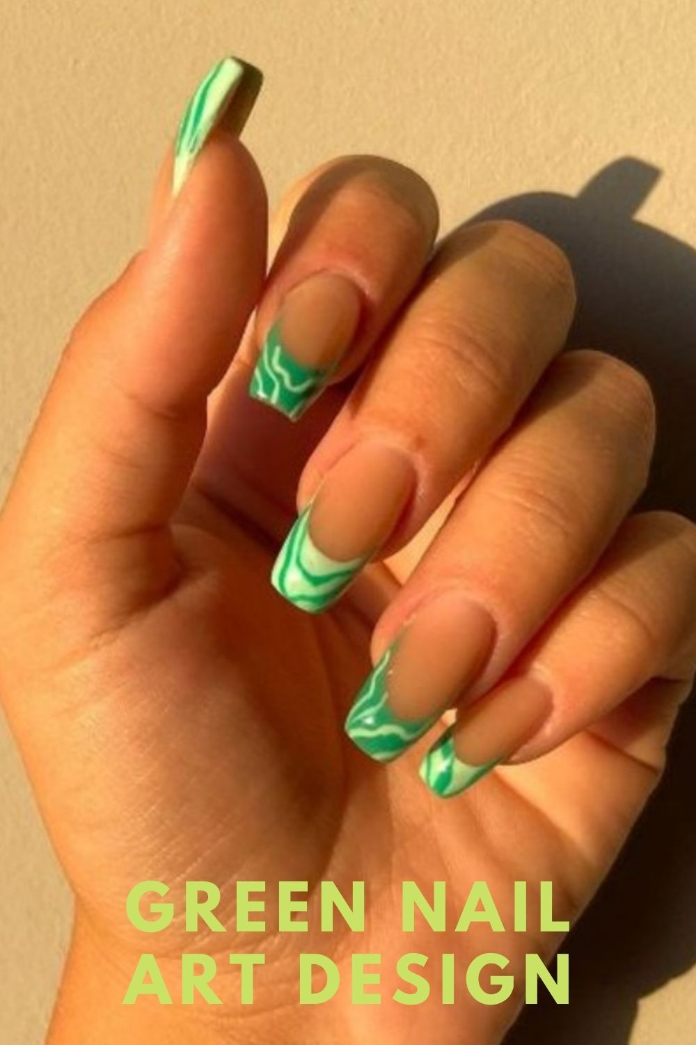 Neon green tip for coffin nails designs
