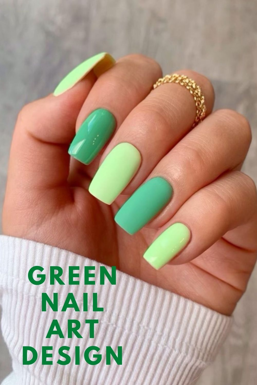 Green and neon green square nails