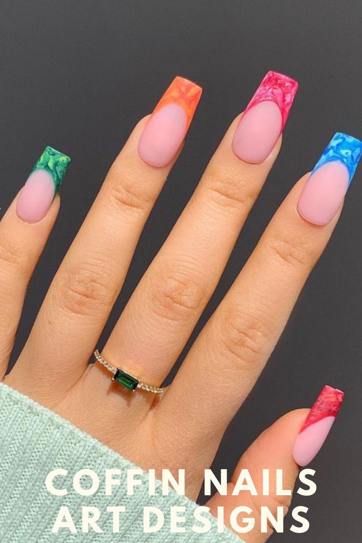 Green, orange, bule, red coffin shape nail design