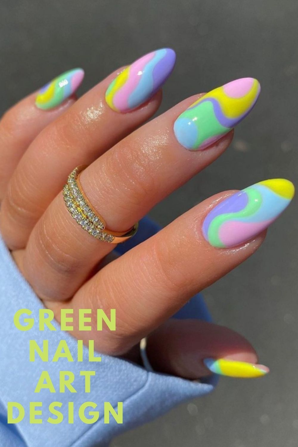 Almond nails designs with pastel nails