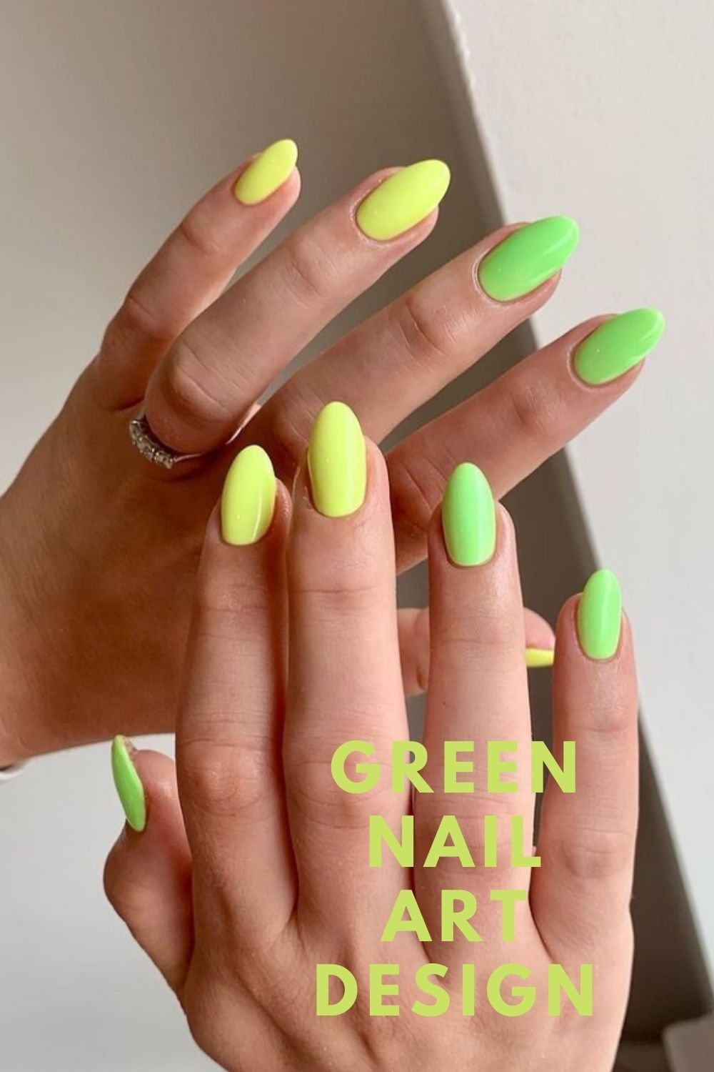 Yellow and neon green oval nails art