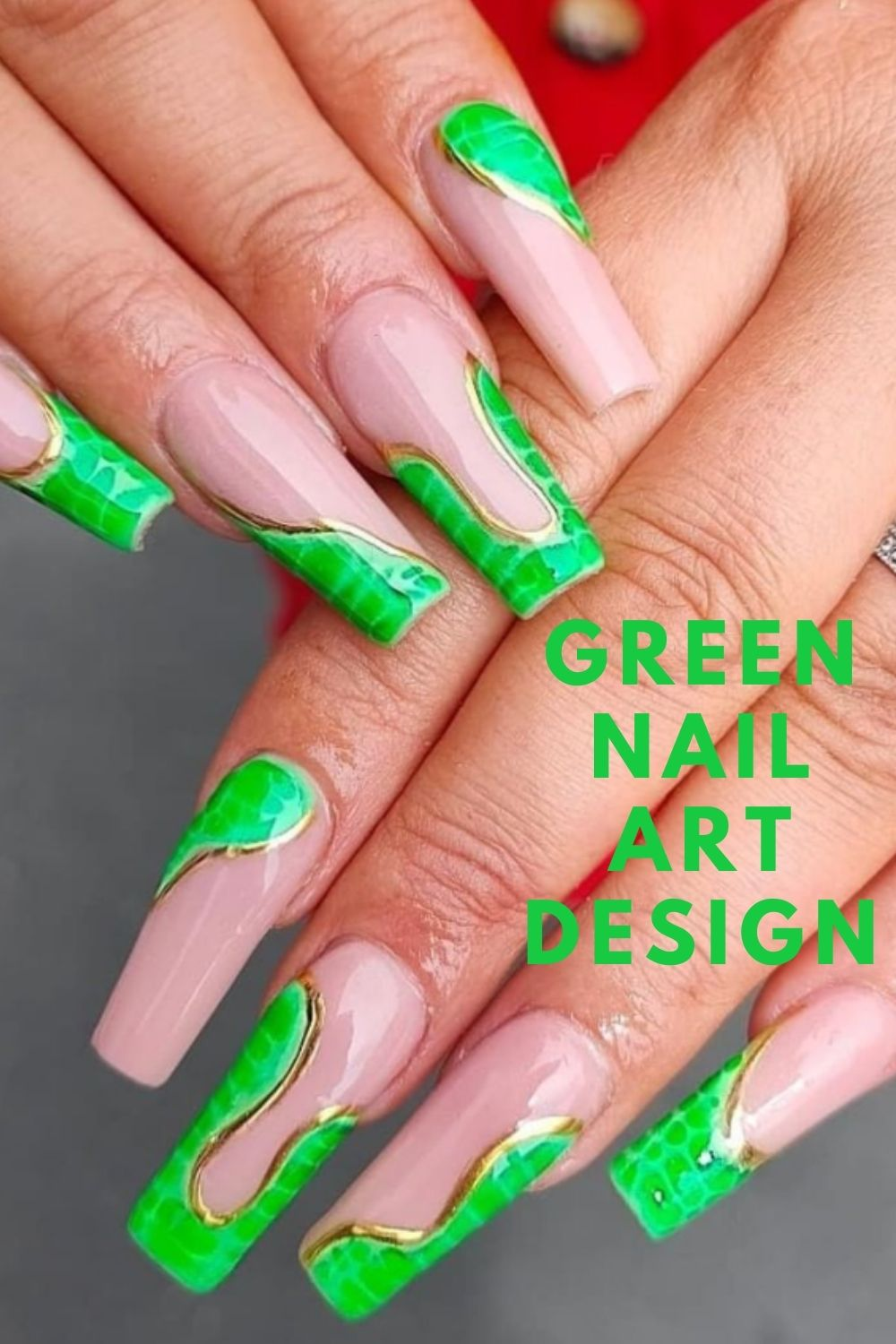 Gold and green coffin nails art designs