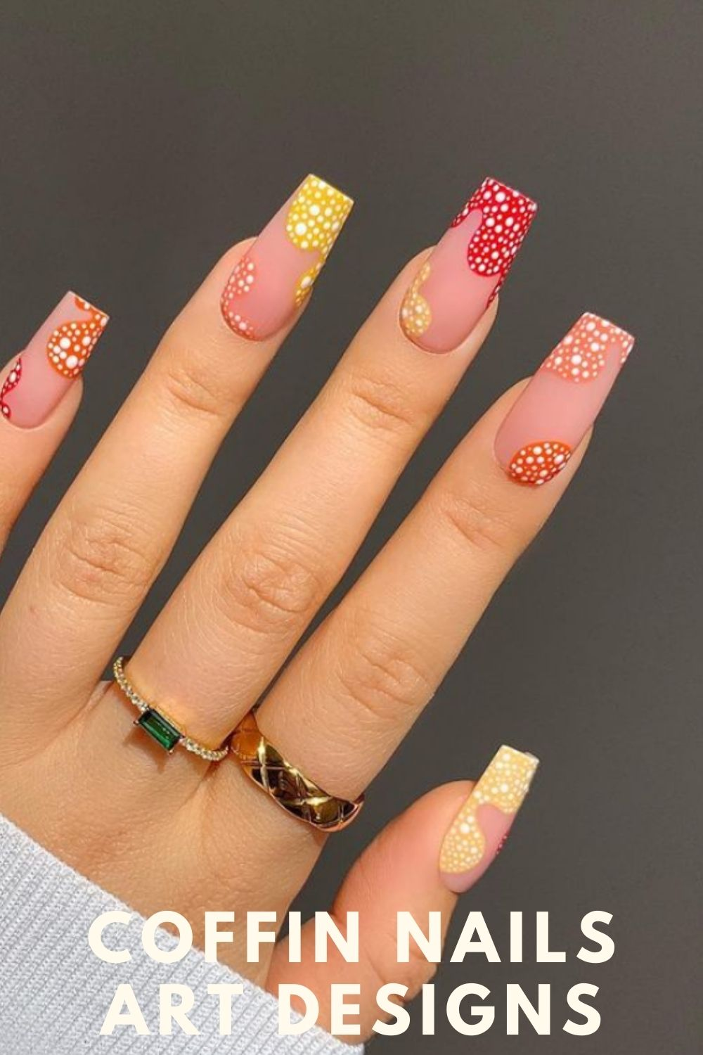 Yellow, red, nude long acrylic nails art ideas