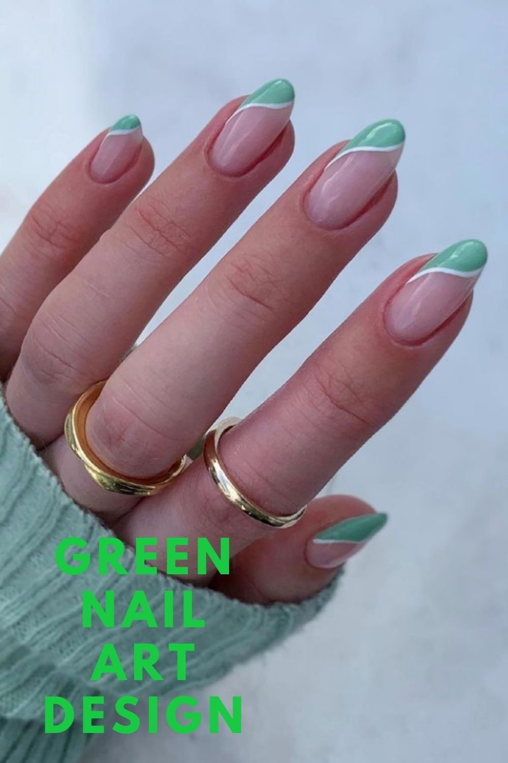White and green almond nails