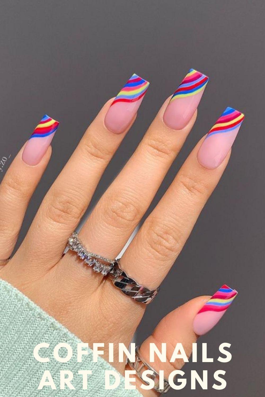 Rinabow nails art designs for summer nails art