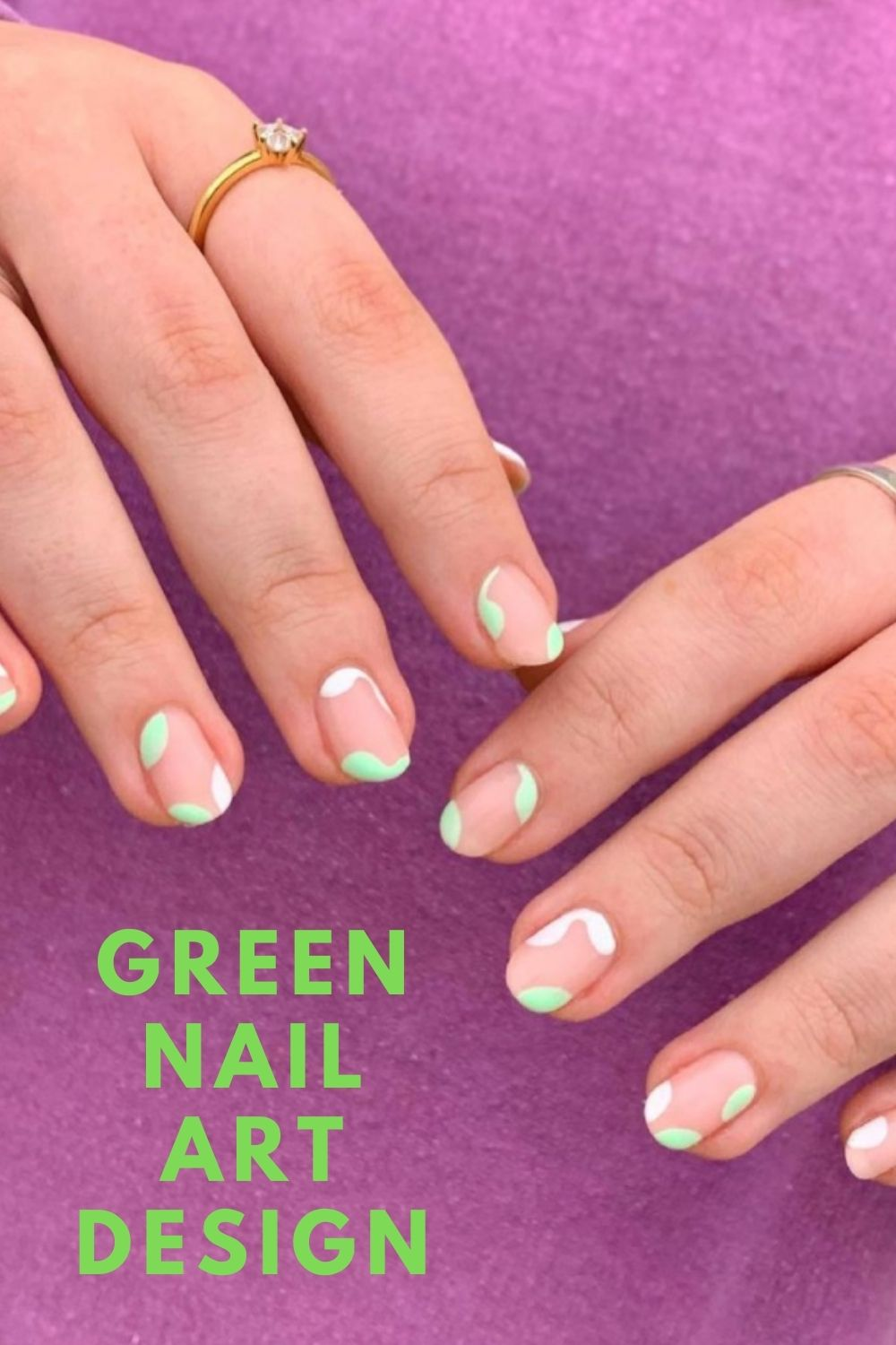 Neon green and white short nails