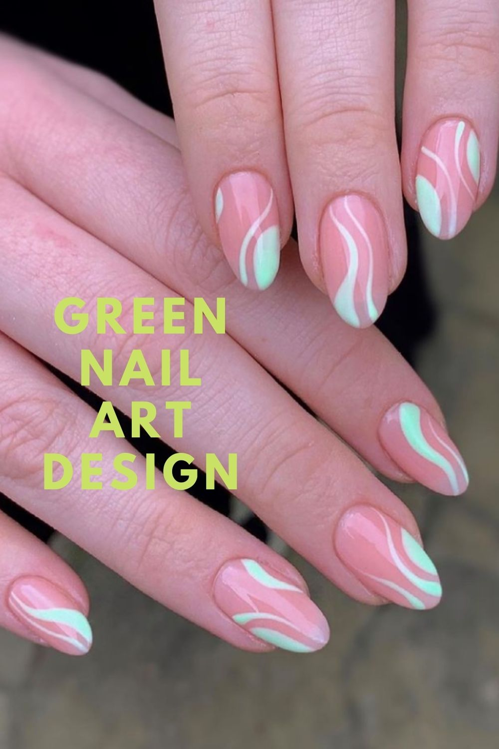 Pink and neon green nails art