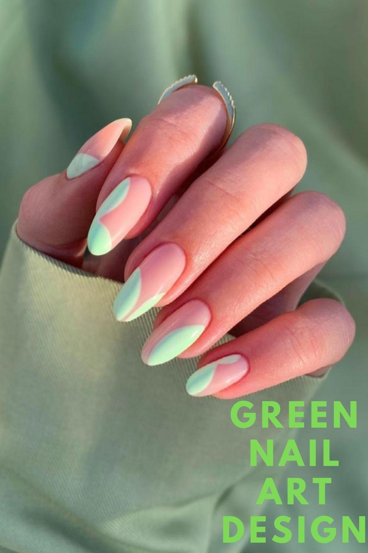 Simple neon green nails art designs