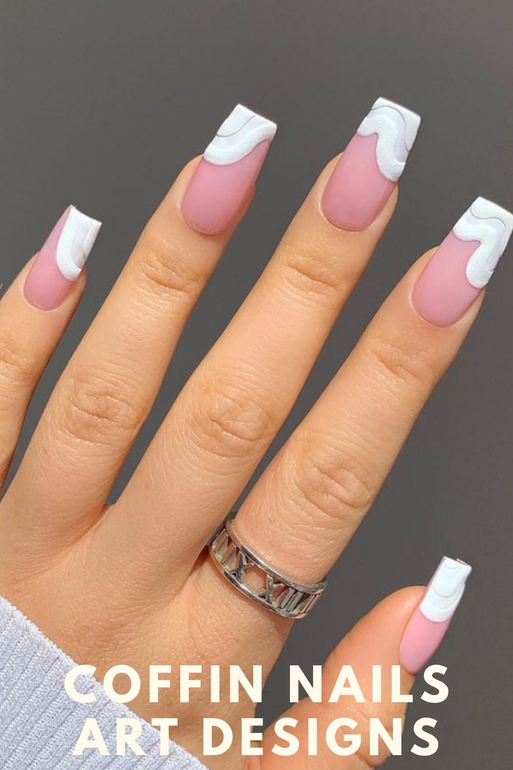 White and pink coffin nails designs