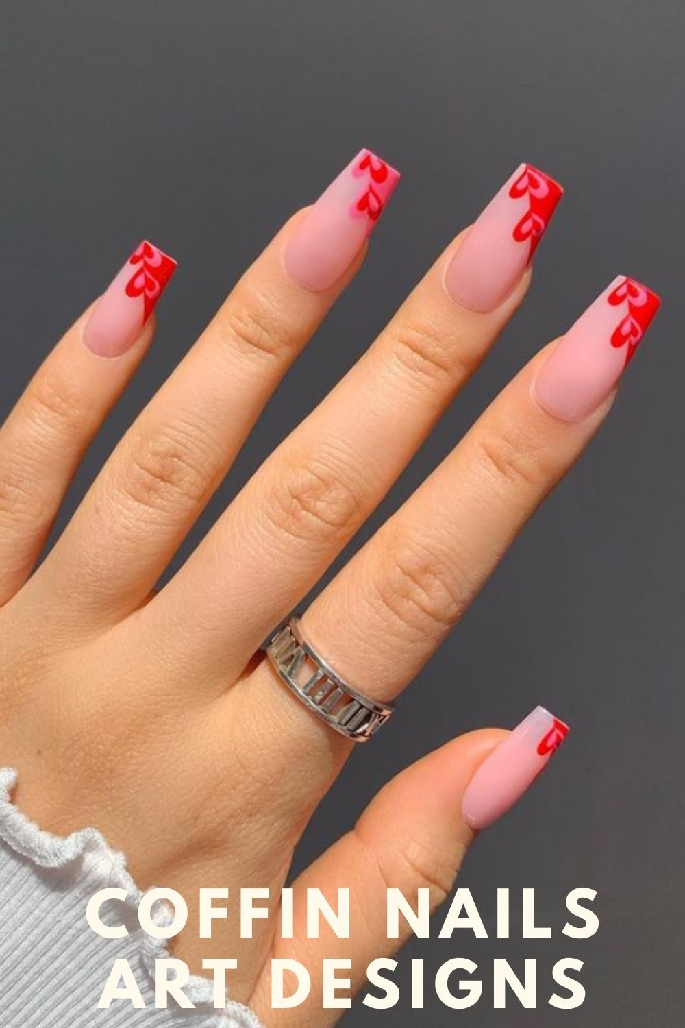 Pink and red coffin shape nail design