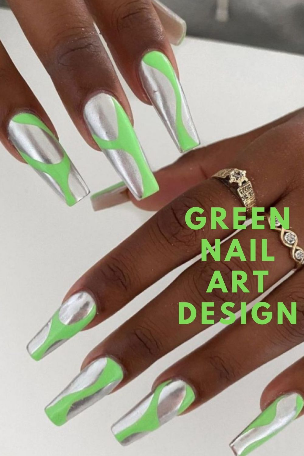 Silver and neon green long nails art ideas