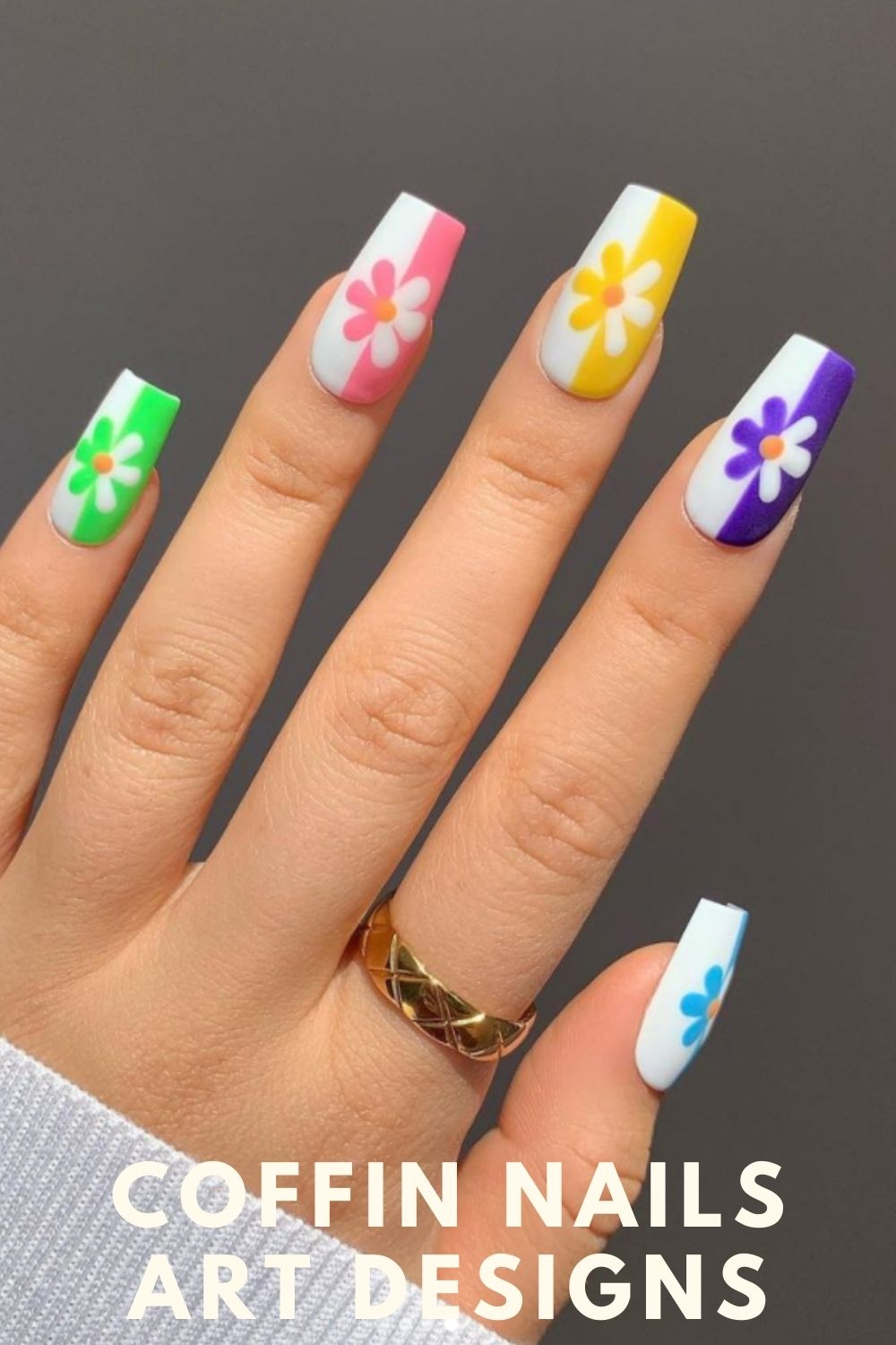 Yellow, neon, purple, pink coffin nails with flower