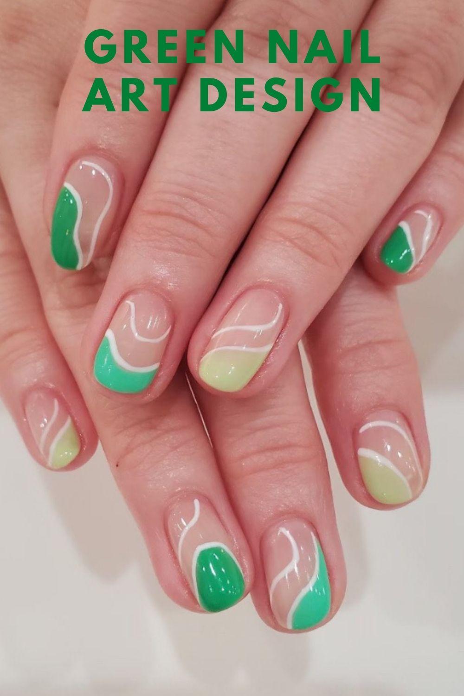 Simple green short nails