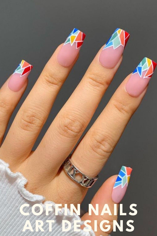 Geometric patterns tip coffin shape nail design