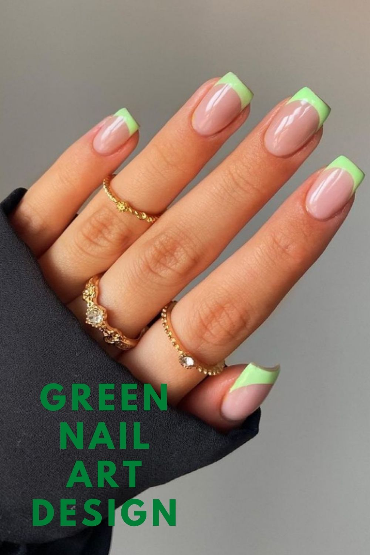 Neon green tip short nails